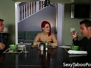 Ginger babe jerking forbidden cock before sex