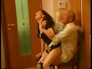 Russian grandpa & young maid