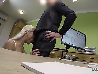 Blonde beauty pays with sex for the future of her business