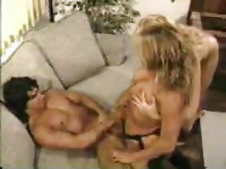 2 Blondes fuck guy with strap-on and suck his cum KOLI