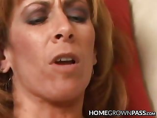 Busty amateur lady rides a cock and receives creampie