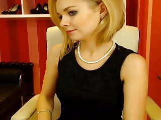 Webcam secretary in good mood