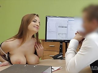 Buxom babe gets fucked on table of loan manager for cash