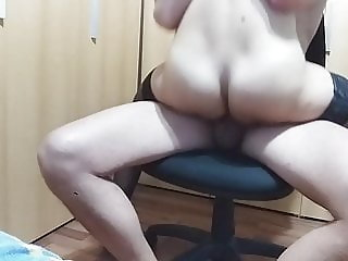 Amateur mom rides cock on a chair