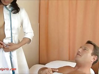 asian nurse get anal dp from two cock and cum in mouth