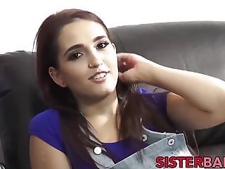 Most beautiful step-sis goes down to blow his hard schlong