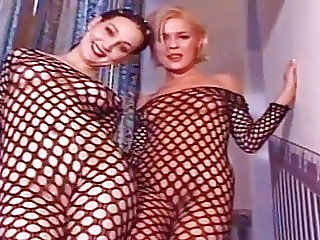 Babes in crotchless body stockings getting an assfuck