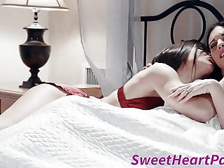 MILF seduces by young lesbian babe and smashed with strapon