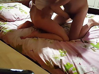 Petting his wife with toys. Dildo, Vibrator, Pussy, Bed, Cli