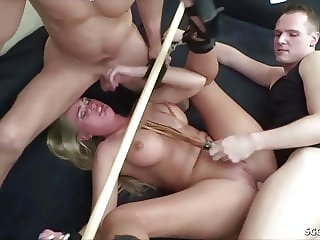GERMAN HOT TEEN ABUSE AND FUCK AS A SLAVE IN FMM THREESOME