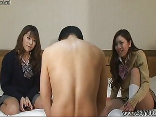 The man gets spanking services from the girls