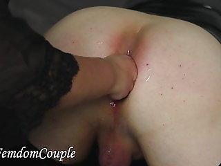 FFemdom Couple - Goddess is playing with Her huge gaping ass