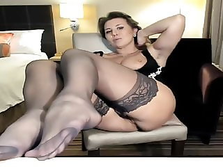 Webcam of a mture stocking lady