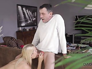 Buxom beauty has to satisfy needs with dad hard prick