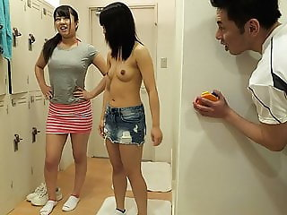 Two cute Japanese babes get drilled in the locker room