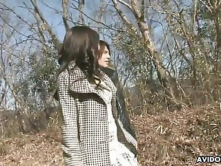 Skinny Asian slut gets fucked and creampied in the woods