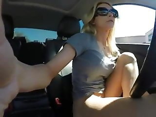 Close up masturbation in a car
