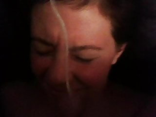 Amateur milf receives her first facial on video