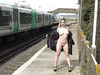 Marla Flashing at the trainstation Southease