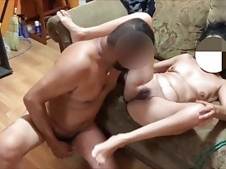 Sucking & fucking stranger on couch while my husband films