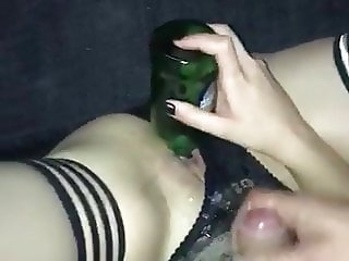 Fucking with a Bottle Rimming my Ass and Cumshot on Panty