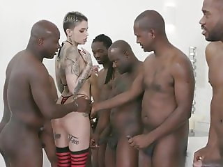 Leigh Raven gets hard BBC DAP and all tasty cum for swallow