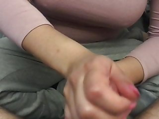Gentle technique Handjob with sexy pink nails