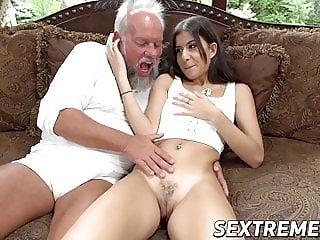 Teen wench receives pussy pounding from dirty old grandpa
