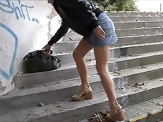 Exhibitionist on steps