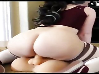 Honey Badger - Young Pale Bubble Butt PAWG Riding Dildo