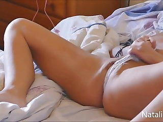 Spying through bedroom door to masturbating Natalie K on bed
