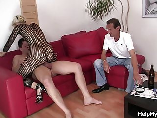 Old husband watching wife riding another cock