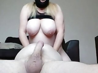 Masked British BBW plays with her mans cock