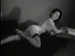 Vintage lascivious girl with small tits and stockings