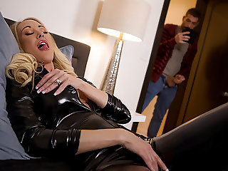 Stepmom's latex dress makes her Son hard