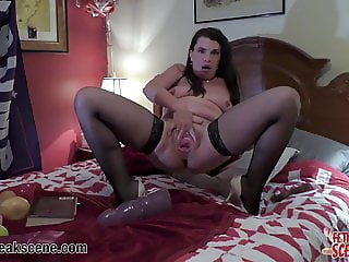 MILF puts huge sex toys in her wide gapping vagina