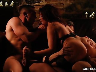 Passionate threesome with beautiful babe and two hot lovers