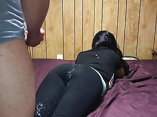 Cumming on pawg ass in tights