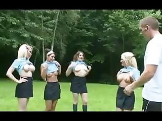 Four Football Girls Take on Their Coach and Each Other