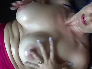 Lesbian Dirty Talk and Tit Play Solo
