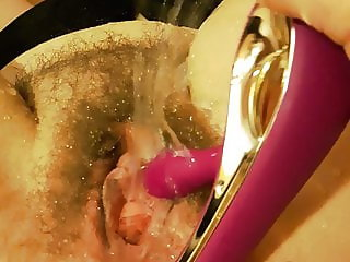 Squirting horny housewife by orgasmen in pussy and anal