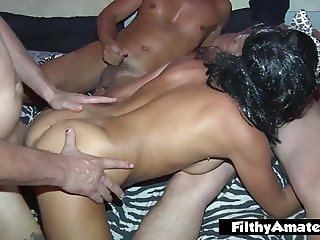 Gangbang with young Italian caregiver