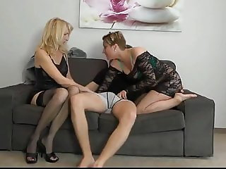 Young Guy with Big Cock Fucks Two Horny MILF on the Couch