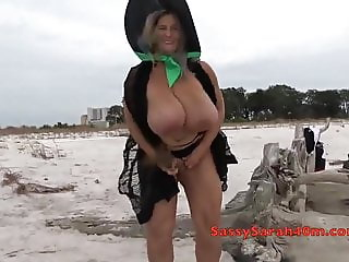 Big tits witch in the driftwood