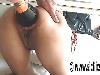 XXL anal champagne bottle penetration