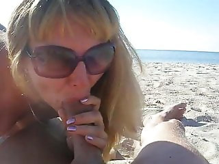 Aunt give me a blowjob in beach