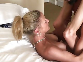 Slutty blonde big titted wife barebacked in front of hubby