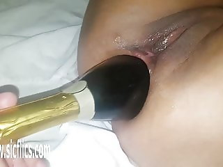 XXL anal champagne bottle destruction