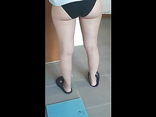 My wife is flight attendant, after shower