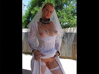 SHELLEY BRIDE CHAINED CUM DOG WITH COLLAR SQUIRTED OVER